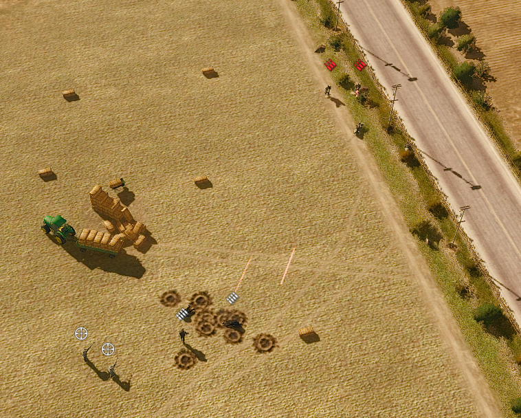 Opposing infantry units