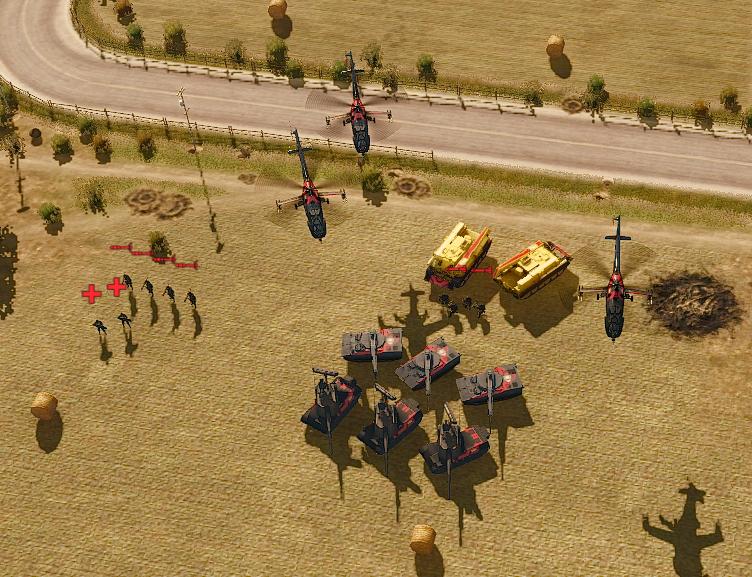 Infantry units amongst vehicles