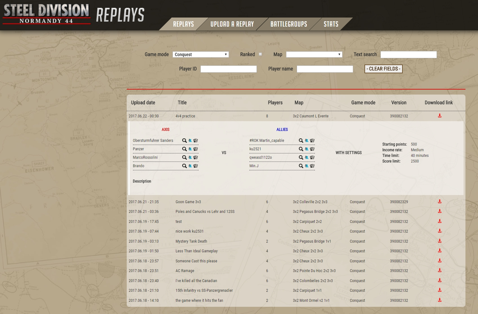 Steel Division: Normandy 44 - Replays website