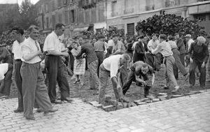 Parisians erecting a barricade, August 19th 1944